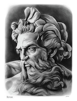Greek Drawing - Neptune by Greg Joens