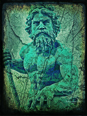 Mermaid Artwork Digital Art - Neptune In Patina by Absinthe Art By Michelle LeAnn Scott