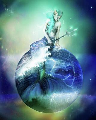 Mermaid Mixed Media - Neptune by Mary Hood