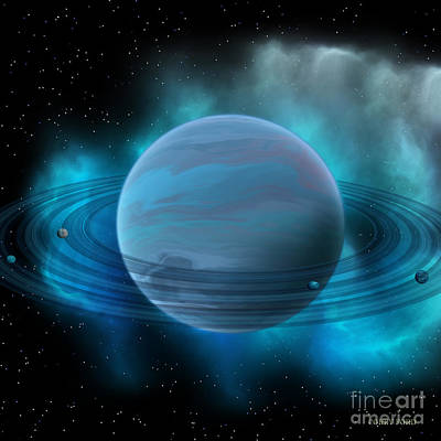 Planetary System Painting - Neptune Planet by Corey Ford