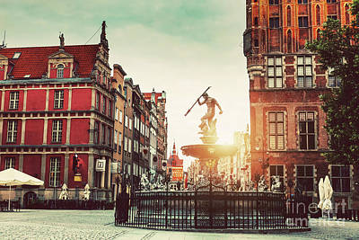 Photograph - Neptune Statue And Old Town Architecture In Gdansk. by Michal Bednarek