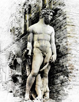 Neptune Statue In Florence - By Diana Van Art Print by Diana Van