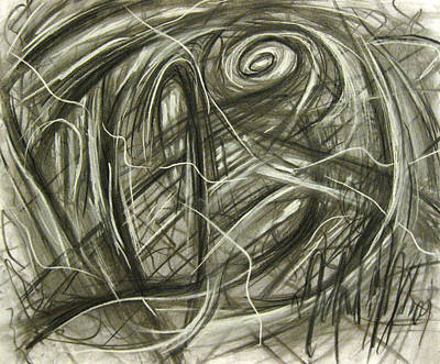 Abstract Expressionism Drawing - Neptune's Plight by Michael Morgan