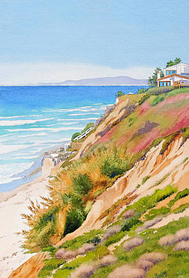 Bluff Painting - Neptune's View Leucadia California by Mary Helmreich