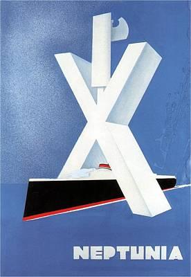 Painting - Neptunia - Steamliner Ship - Minimalist Poster - Vintage Advertising Poster - Blue by Studio Grafiikka