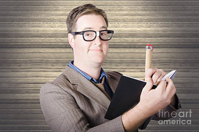 Comics Royalty-Free and Rights-Managed Images - Nerd Businessman minuting massive business plan by Jorgo Photography - Wall Art Gallery