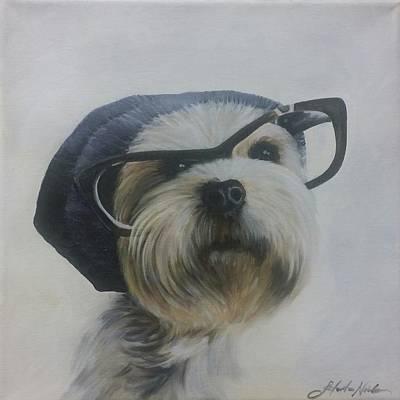 Painting - Nerd Dog by Jeleata Nicole