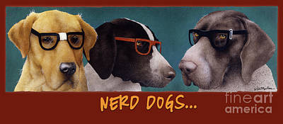 Painting - Nerd Dogs... by Will Bullas