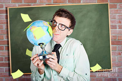 Nerd Man Holding Earth World Globe In Classroom Art Print