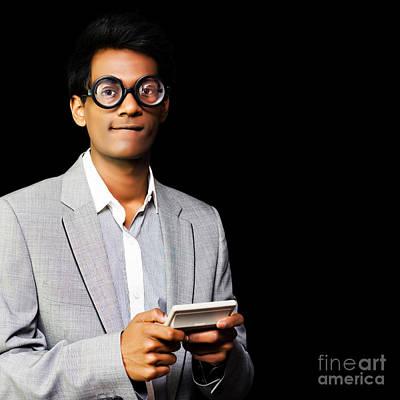 Nerd Playing Handheld Video Game Art Print by Jorgo Photography - Wall Art Gallery