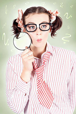 Nerdy School Girl Student With Education Question Art Print by Jorgo Photography - Wall Art Gallery