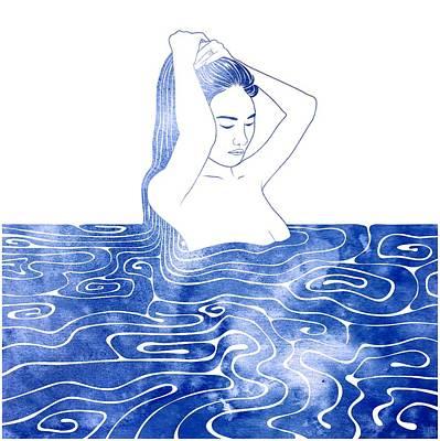 Bathing Mixed Media - Nereid Viii by Stevyn Llewellyn
