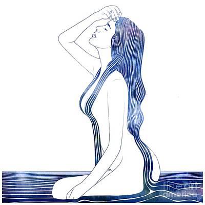Goddess Mythology Mixed Media - Nereid Xviii by Stevyn Llewellyn