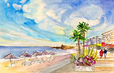 Travel Sketch Drawing - Nerja Beach 01 by Miki De Goodaboom