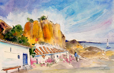 Travel Sketch Drawing - Nerja Beach 02 by Miki De Goodaboom