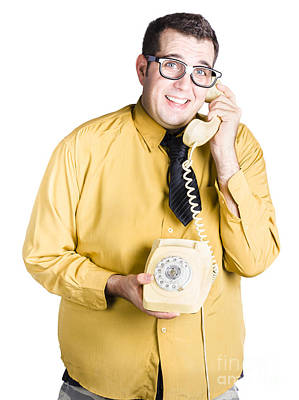 Nervous Man Taking Important Phone Call Art Print