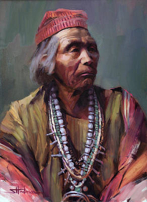 Painting - Nesjaja Hatali Medicine Man Of The Navajo People by Steve Henderson