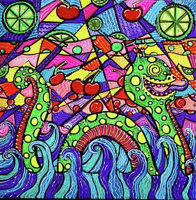 Monster Painting - Nessie Loves Cherry Limeade by Laura Barbosa