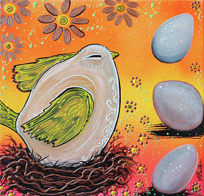 Abstract Wildlife Painting - Nesting Bird by Laura Barbosa