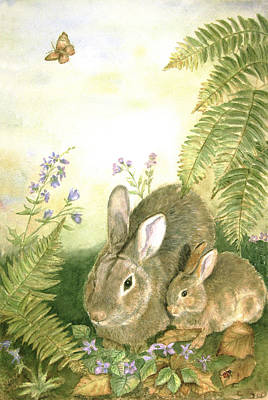 Fern Painting - Nesting Bunnies by Patricia Pushaw