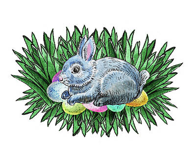 Painting - Nesting Easter Bunny by Irina Sztukowski