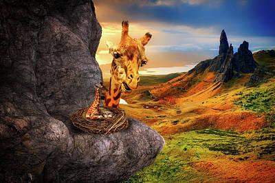 Mountain Valley Mixed Media - Nesting Giraffe by Pixabay
