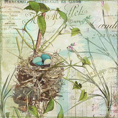 Bird Nest Painting - Nesting II by Mindy Sommers