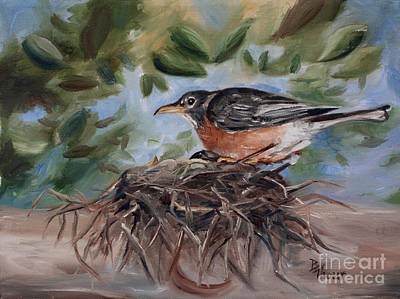 Painting - Nesting Robin by Brenda Thour