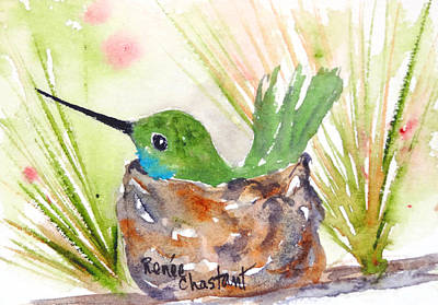 Colibri Painting - Nesting Teal Hummingbird by Renee Chastant