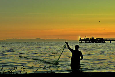 Photograph - Net Fishing At Dusk by Brian Chase