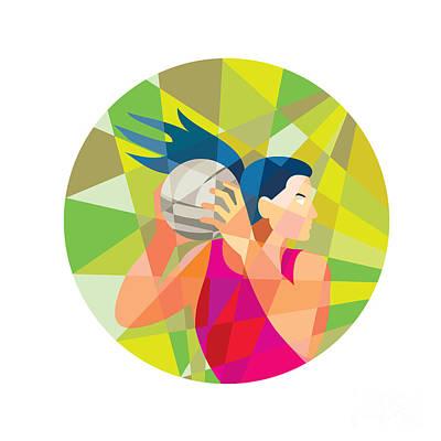 Rebound Digital Art - Netball Player Ball Rebound Low Polygon by Aloysius Patrimonio