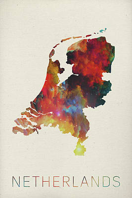Netherlands Mixed Media - Netherlands Watercolor Map by Design Turnpike