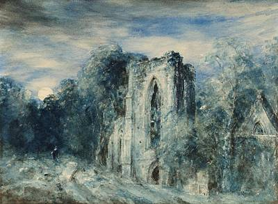 Moonlight Painting - Netley Abbey By Moonlight by John Constable