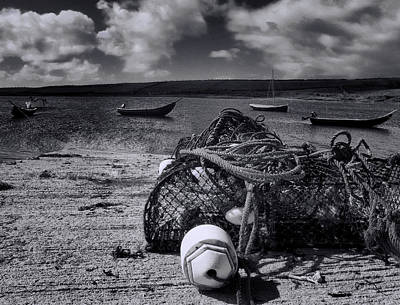 Currach Photograph - Nets And Fishing Boats In Ireland by Mitch Spence