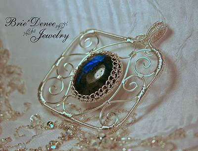 Cabochon Wall Art - Jewelry - Netted Filigree Labdorite Wrapped Pendant by Brittney Brownell