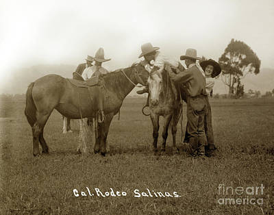 Photograph - Nettie Hawn And California Rodeo Salinas Circa 1913 by California Views Mr Pat Hathaway Archives