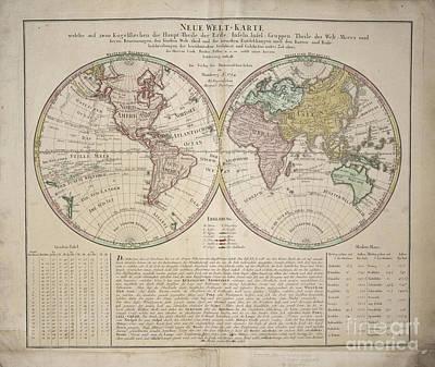 Photograph - Neue Welt-karte World Map By Homann Erben 1784 by Rick Bures