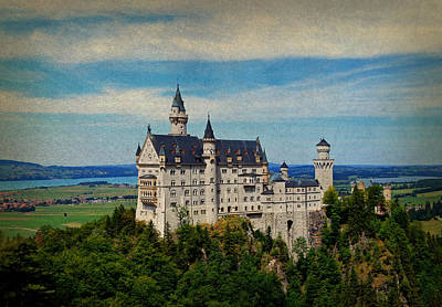 Castle Mixed Media - Neuschwanstein Castle Bavaria Germany Vintage Postcard Image by Design Turnpike