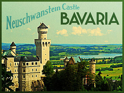 Bavarian Digital Art - Neuschwanstein Castle Bavaria by Flo Karp