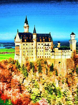 Digital Art - Neuschwanstein Castle by Dennis Cox Photo Explorer