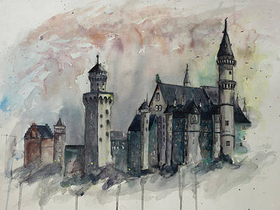Painting - Neuschwanstein Castle Hohenschwangau, Germany by Gray Artus