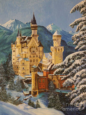 Disney Painting - Neuschwanstein Castle In Winter by Charlotte Blanchard