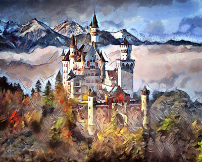 Mixed Media - Neuschwanstein Castle by Pennie McCracken