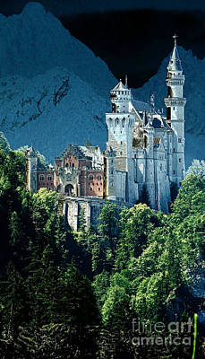 Photograph - Neuschwanstein Castle Solarisation 1 by Rudi Prott