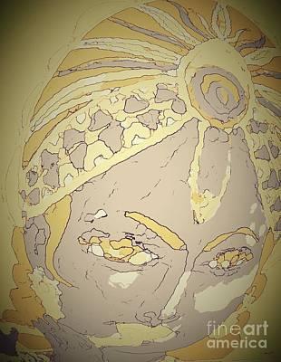 Neutral Colors Krishna Portrait Art Print by Jayne Somogy