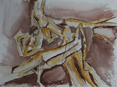 Representative Abstract Drawing - Neutral Layered Nudes 2 by Whitney Christmas