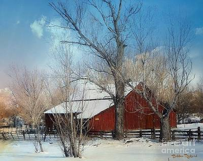 Photograph - Nevada Barn In The Winter In Color by Bobbee Rickard