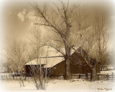Red Barn In Winter Digital Art - Nevada Barn In The Winter Sepia Tones by Bobbee Rickard