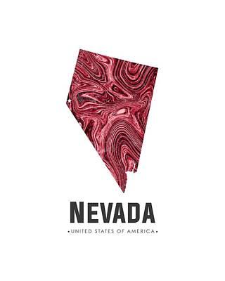 Mixed Media - Nevada Map Art Abstract In Deep Red by Studio Grafiikka