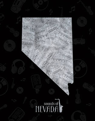 Jazz Royalty Free Images - Nevada Map Music Notes 2 Royalty-Free Image by Bekim M